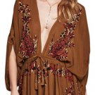 Free People Pretty Pineapple Dress Medium 6 8  Brown