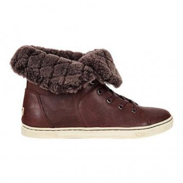 $150 Ugg Genuine Shearling High Top Sneaker 7 - 7 1/2 Espresso Brown RUNS SMALL