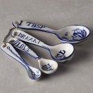 Anthropologie Jardin Des Plantes Measuring Spoons Hand Painted Dishwasher Safe