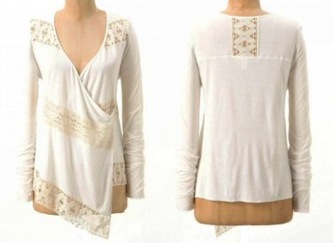 Anthropologie Tilly Cardigan Small 2 4  Ivory Sweater Lace Inserts Top