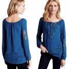 Anthropologie Salt Spring Peasant Top Small 2 4 Turquoise Blue Lace Inserts