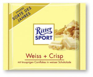 RITTER SPORT Chocolate Bar - Weiss + Crisp - 100 g - from Germany- FRESH from Germany