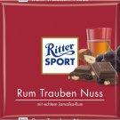 RITTER SPORT Chocolate Bar - Rum Trauben Nuss - 100 g - from Germany- FRESH from Germany