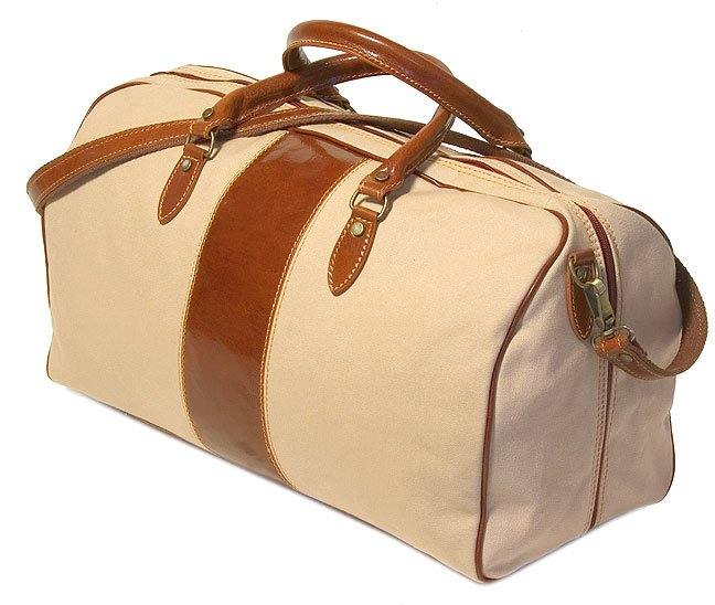 Floto Venezia Duffle in Linen Canvas with Vecchio Brown