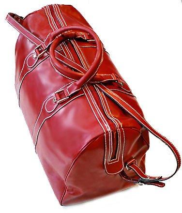 Floto Milano Italian Leather duffle bag in Tuscan Red