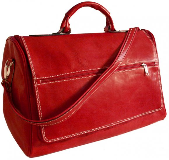 Floto Taormina Italian Leather Duffle in Tuscan Red