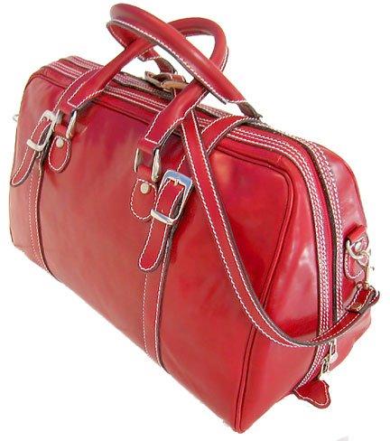 Floto Trastevere Italian Leather Travel Duffle bag in Tuscan Red