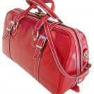 Floto Trastevere Italian Leather Travel Duffle bag in Tuscan Red