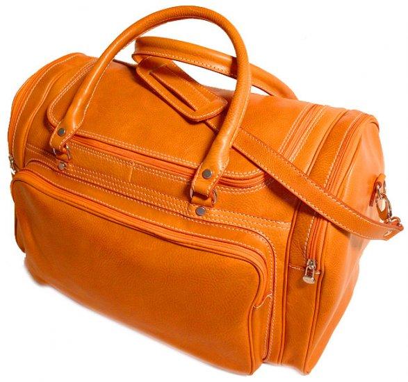 Floto Torino Italian Leather Duffle bag in Orange