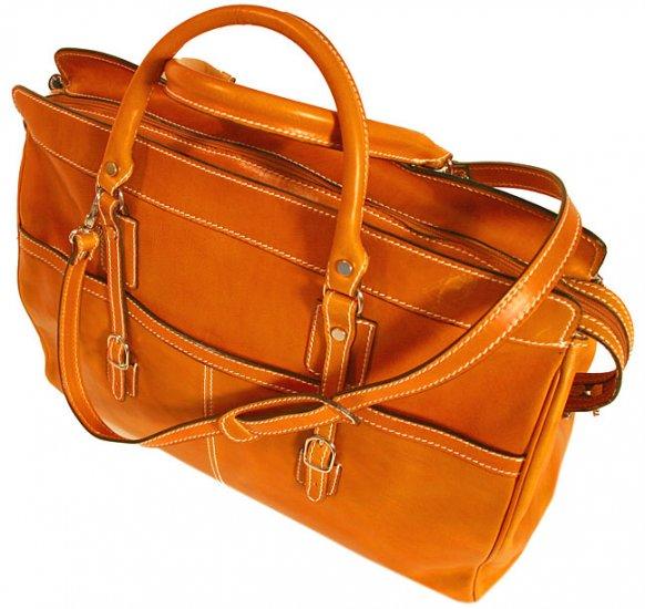 Floto Casiana Italian Leather Travel Tote bag in Orange