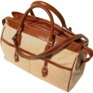 Floto Casiana Canvas Tote with Vecchio Brown Leather Trim