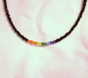 Black and Rainbow Beaded Necklace