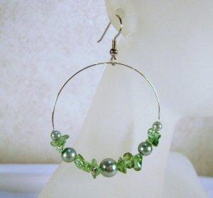 Green Glas pearl and Glass Chip beaded Hoop Earrings