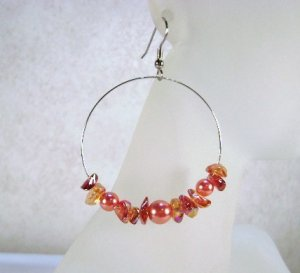 Phoenix Fire - red and orange-red beaded hooped earrings