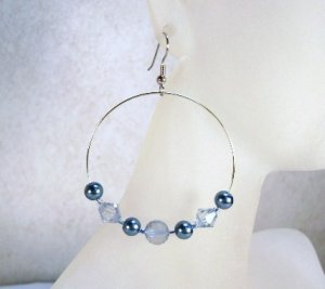 Blue Chic Glass Pearl and faceted Hoop Earrings