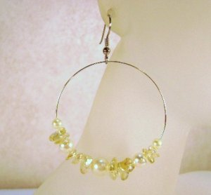 Spring Yellow Glass Pearl and chip Beaded Hoop Earrings