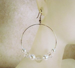 Clear and White Pearl Glass Beaded Large Hoop Earrings