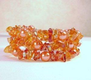 Red-Orange Glass Beaded Bracelet - see pics