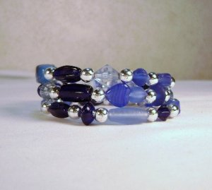 Silver and Multiple Shades of Blue Memory Wire Bracelet