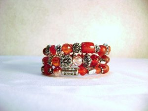 Red and Antiqued Silver hued Memory Wire Bracelet