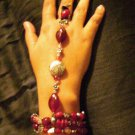 Red and Antiqued Silvertone Glass beaded Slave Bracelet