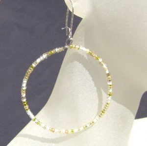 Yellow and cream seed bead hoop Earrings