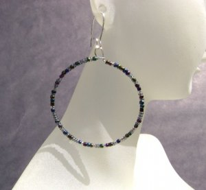 Iris Luster seed bead hoop Earrings