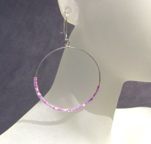 Pink seed bead hooped earrings