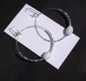 Blue and White seed bead hooped earrings