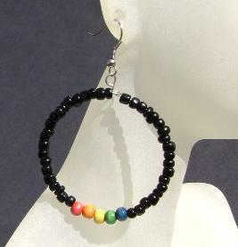 Got Pride? Beaded rainbow hooped earrings