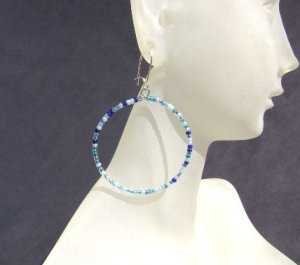 Blue Rhapsody seed bead hoop Earrings