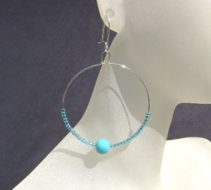 Turquoise glass seed bead hoop Earrings