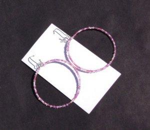 Pink glass seed bead hoop Earrings