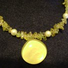 Yellow glass beaded Necklace with Water glass Pendant