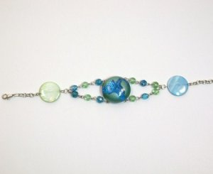 "Mother of Pearl and Glass ""Earth"" Bracelet"