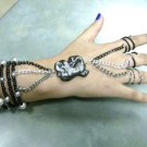 "Black, Gunmetal and Silver 3 ring ""slave"" bracelet"