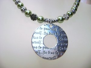 Olive Green Glass Pearl Necklace With Pendant