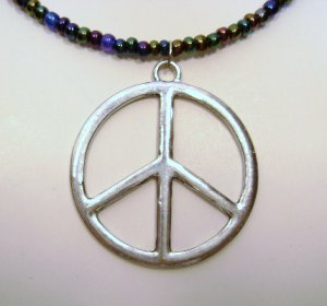 Iris Glass Beaded Necklace with Peace Sign
