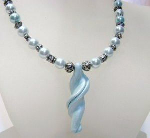Light Blue Glass Pearl Necklace w/twisted pendant