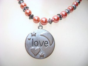 """Watermelon Red Glass Pearl Necklace """"Love"""" pendant"""