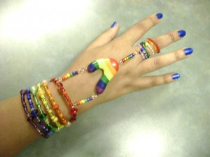 "Rainbow Pride ""Slave"" Bracelet & Ring"