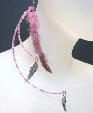 Beaded Pink Jumbo Earrings with Feathers