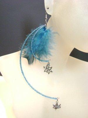Beaded Turquoise Jumbo Earrings with Feathers