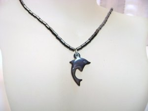 Hematite and Dolphin Pendant Necklace