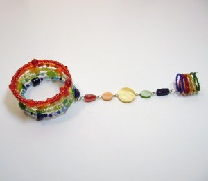"Rainbow Colors ""Slave"" Bracelet & Ring"
