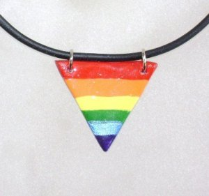 Cord Necklace with Triangle Rainbow Focal