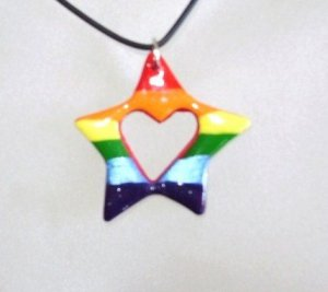 Cord Necklace with Star with Heart Rainbow Focal