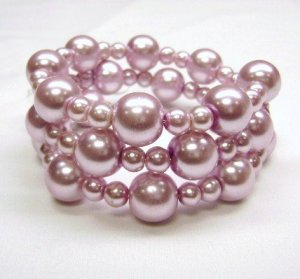 Pale Pink glass pearl Wrap Bracelet -(memory wire)