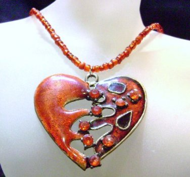 Red Beaded Necklace With Large heart pendant