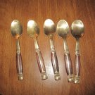 Set of 5 Vintage Brass Demitasse Tea Espresso Spoons Wood Handle Thailand